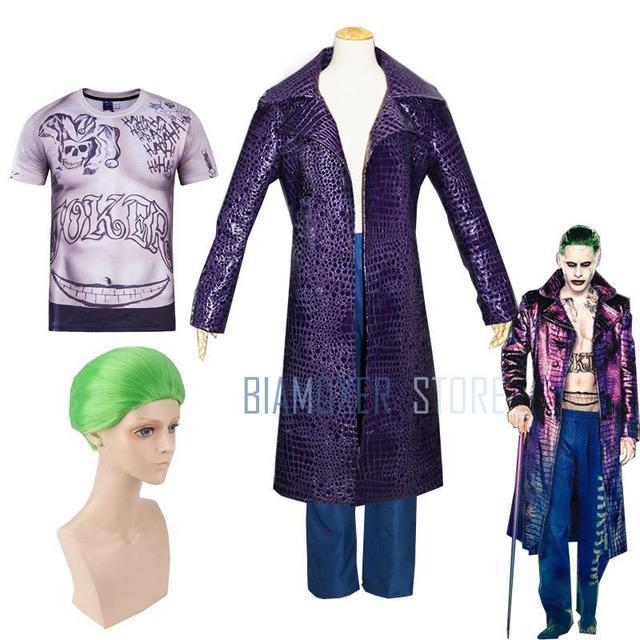 Biamoxer uniforme de Suicide Joker pour hommes, Costumes de Cosplay, Trench Coat veste violette t shirts Clown vert pour fête dhalloween