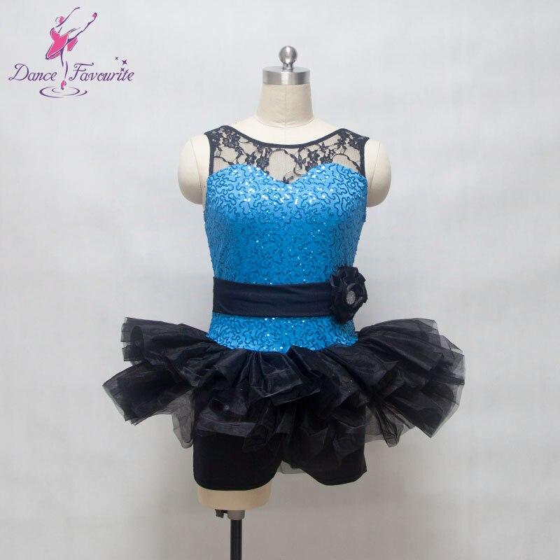 Black lace with light sea blue sequin spandex bodice ballet tutu women & girl stage performance ballet, jazz & tap dance costume