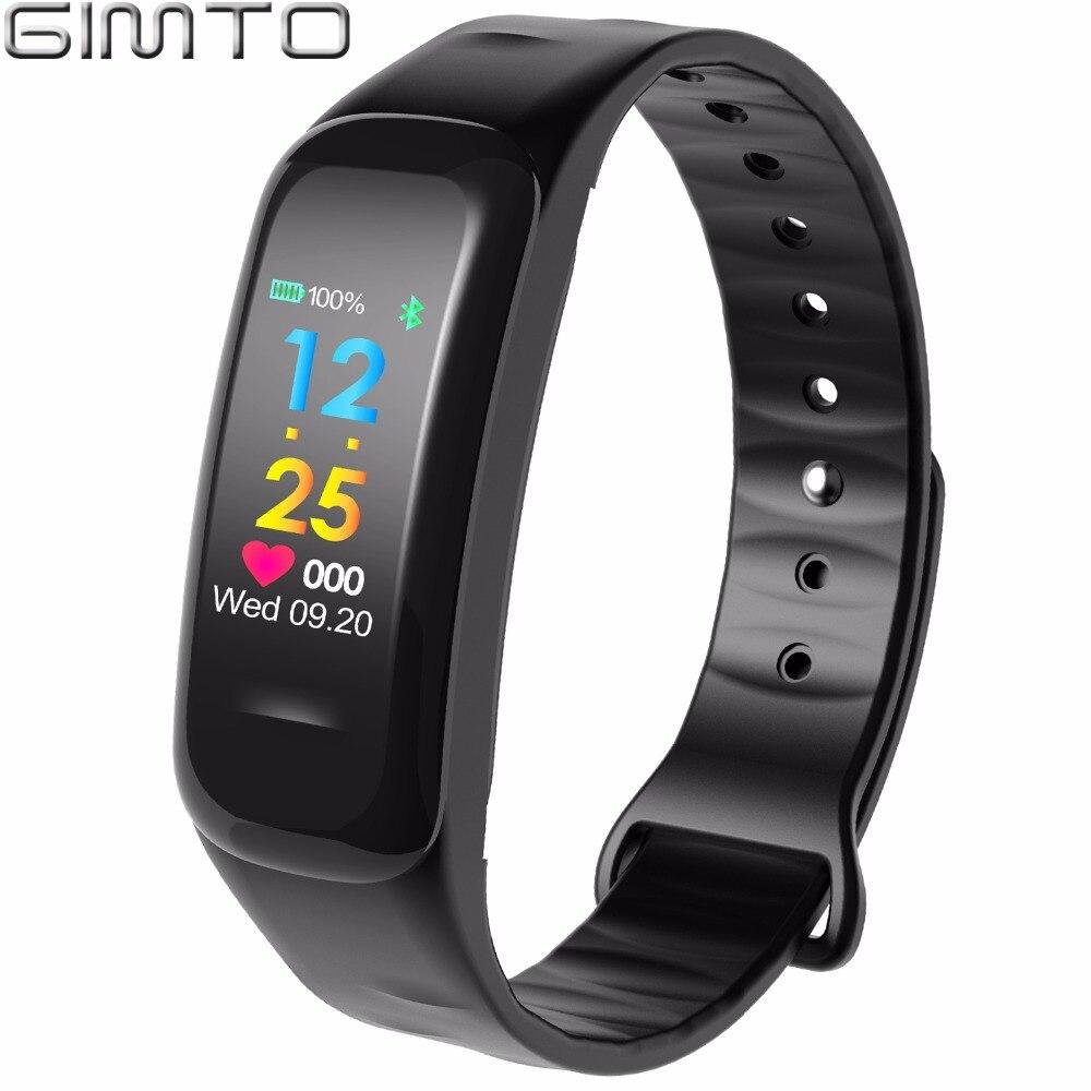 GIMTO Hommes Femmes Sport Bracelet À Puce Montre Bluetooth Horloge Coeur Taux de Tension Artérielle d'oxygène Sommeil Moniteur Podomètre Smartwatch