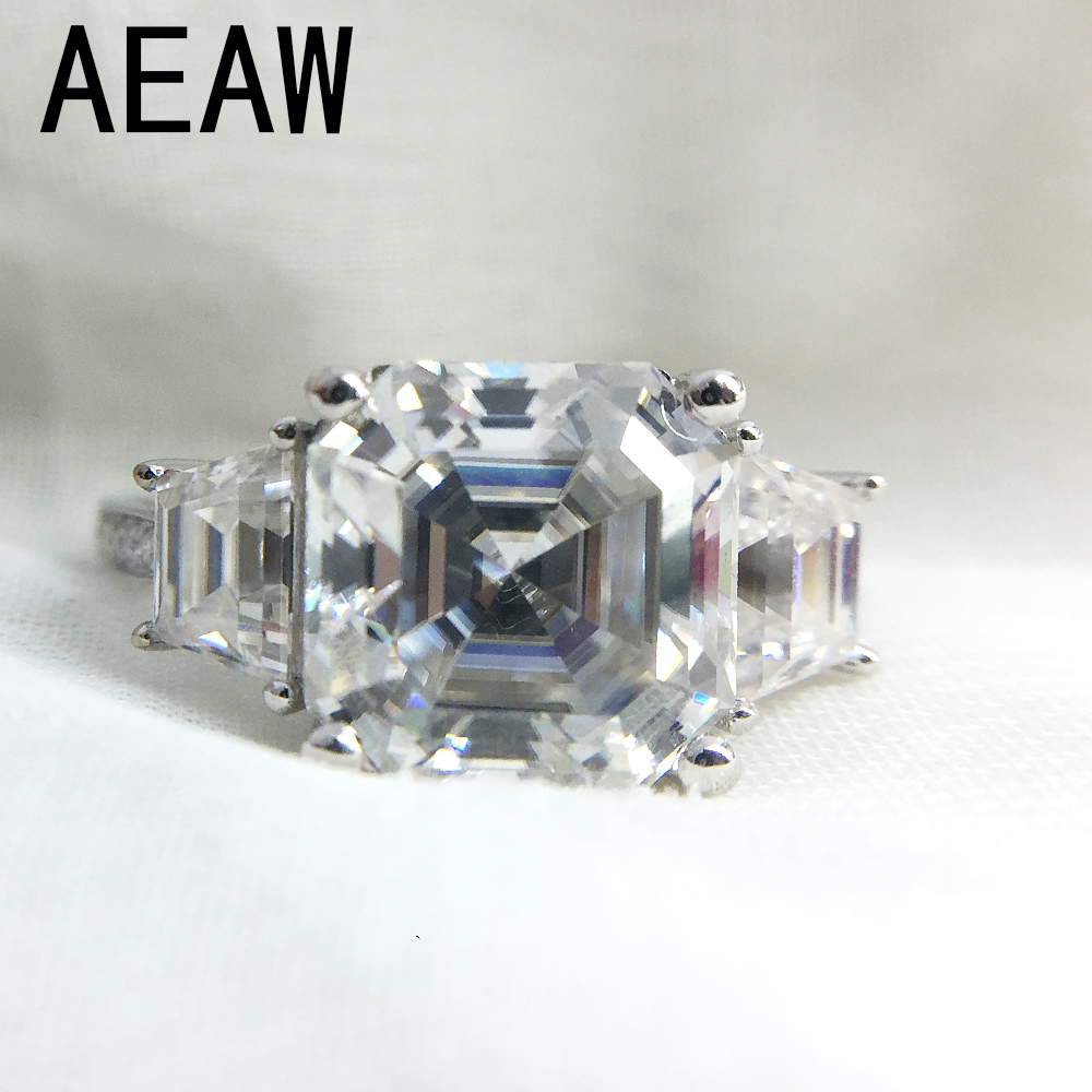 3 Carat Asscher Cut Moissanite Lab Diamond Ring Set DEF Color Excellent Matching Band Ring For Women Solid 14K White Gold real 18k rose gold 1 2 carat ct def color lab grown moissanite diamond pendant necklace chain for women charm jewelry