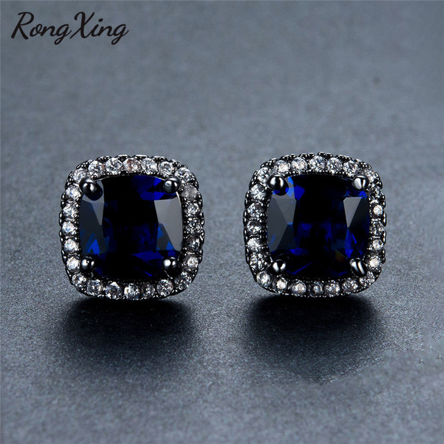 Rongxing Square Blue Zircon Stud Earrings For Women New Fashion Vintage Black Gold Filled White