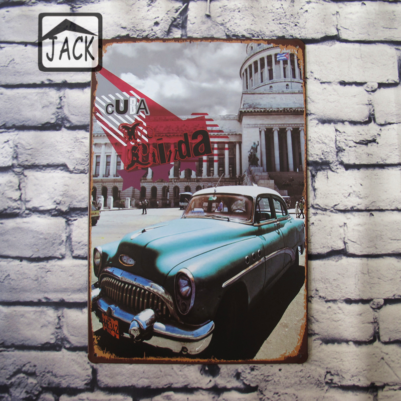Blue car vintage tin signs bar pub cafe shop gallery for Auto decoration shops in rawalpindi