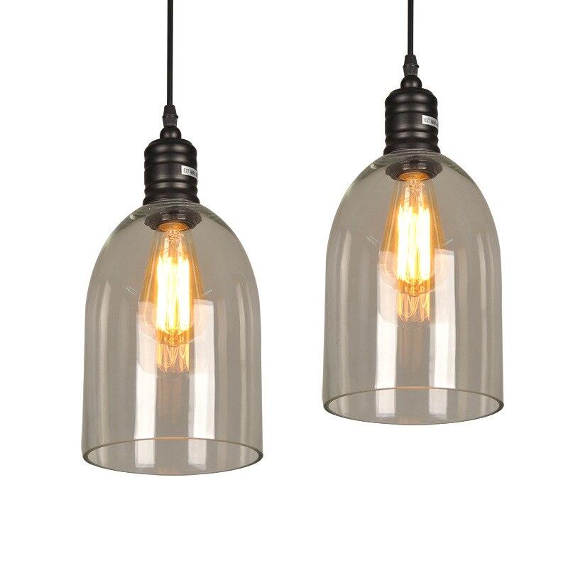 Işıklar ve Aydınlatma'ten Kolye ışıkları'de Retro Vintage kolye ışıkları açık cam abajur Loft kolye lambaları E27 110V 220V için yemek odası ev dekorasyon ışıklandırma title=