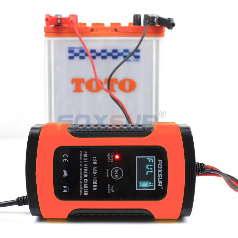<font><b>FOXSUR</b></font> 12V Motorcycle & <font><b>Car</b></font> Automatic Intelligent <font><b>Battery</b></font> <font><b>Charger</b></font>, EFB AGM GEL Pulse Repair <font><b>Battery</b></font> <font><b>Charger</b></font> with LCD Display image