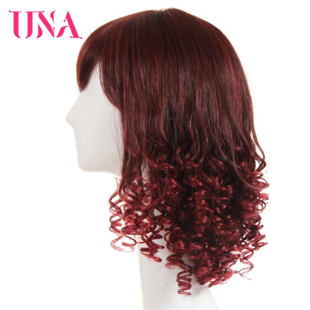 "UNA Brazilian Funmi Curly Human Hair Wigs Non-Remy Hair 14"" Wig Mono Web Top Color #1 #1B #2 #4 #27 #30 #33 #99J #BUG #350 #2/33"