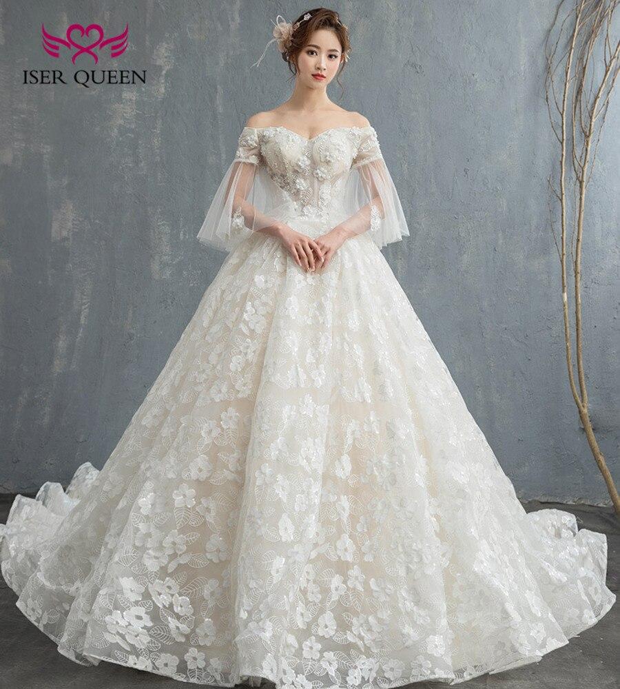 Romantic Flower Appliques Royal Train Princess Wedding Dresses Ball Gown Cap Sleeve Plus Size Europe Bridal
