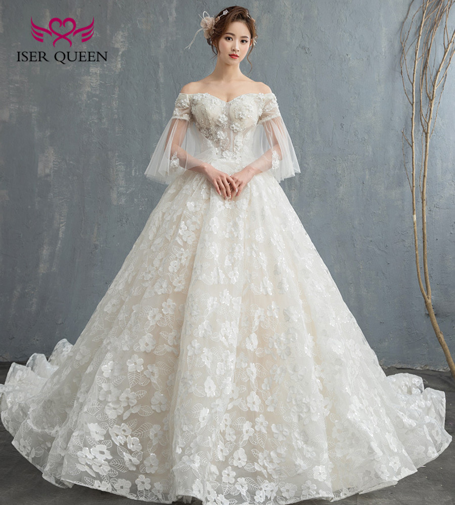 US $92.46 33% OFF|Romantic Flower Appliques Royal Train Princess Wedding  Dresses Ball Gown Cap Sleeve Plus Size Europe Bridal Wedding Dress  WX0122-in ...