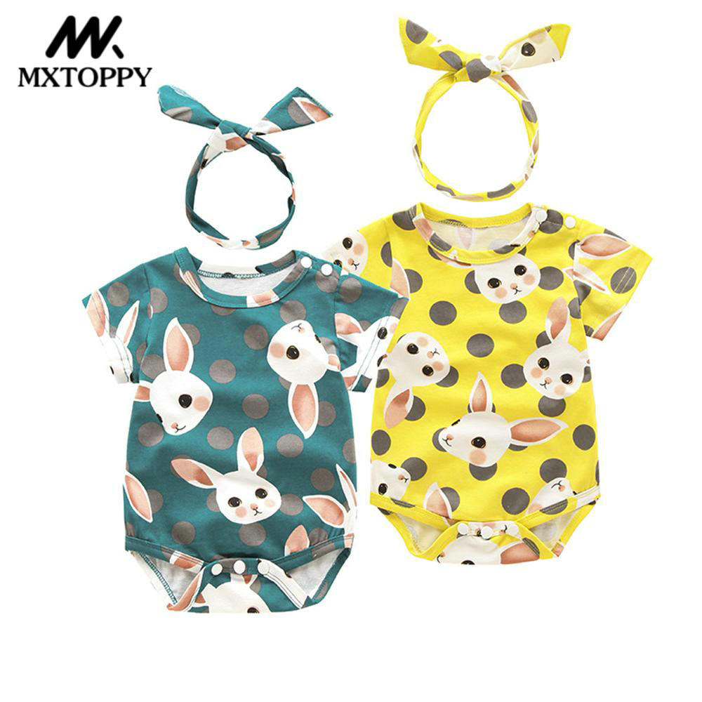 MXTOPPY Baby Romper Summer Newborn Baby Clothes Cotton Cute Rabbit Short Sleeve Jumpsuit Romper + Headband Outfits 2Pcs 2017 floral newborn baby girl clothes ruffles romper baby bodysuit headband 2pcs outfits sunsuit children set