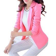 fcfe2b6dfb Mulheres Terno 2016 Moda Primavera Outono Único Botão Blazers E Jaquetas  Blaser Feminino Branco Preto Rosa Azul senhoras Blazer .