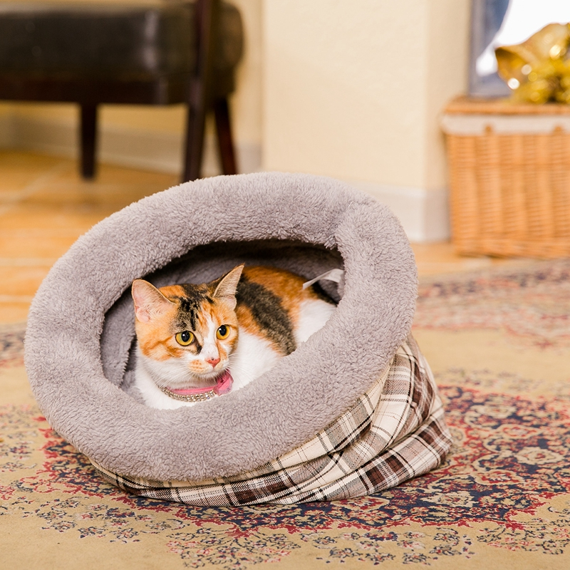 Pet Cat მძინარე ჩანთა Puppy Bed Soft Soft Cat for Cat Kitten Nest Small Dog Grid Cushion Animal Mats Rabbit Cat Beds Chinchilla Cag