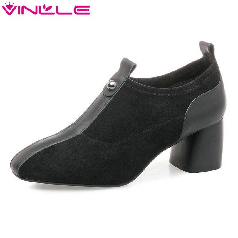 VINLLE 2018 Women Pumps Pointed Toe Genuine Leather Lace Up Square High Heel Black Ladies Wedding Shoes Size 34-42 2015 fashion women pumps high heel pointed toe shoes soft leather elegant ladies wedding shoes red black size 34 40