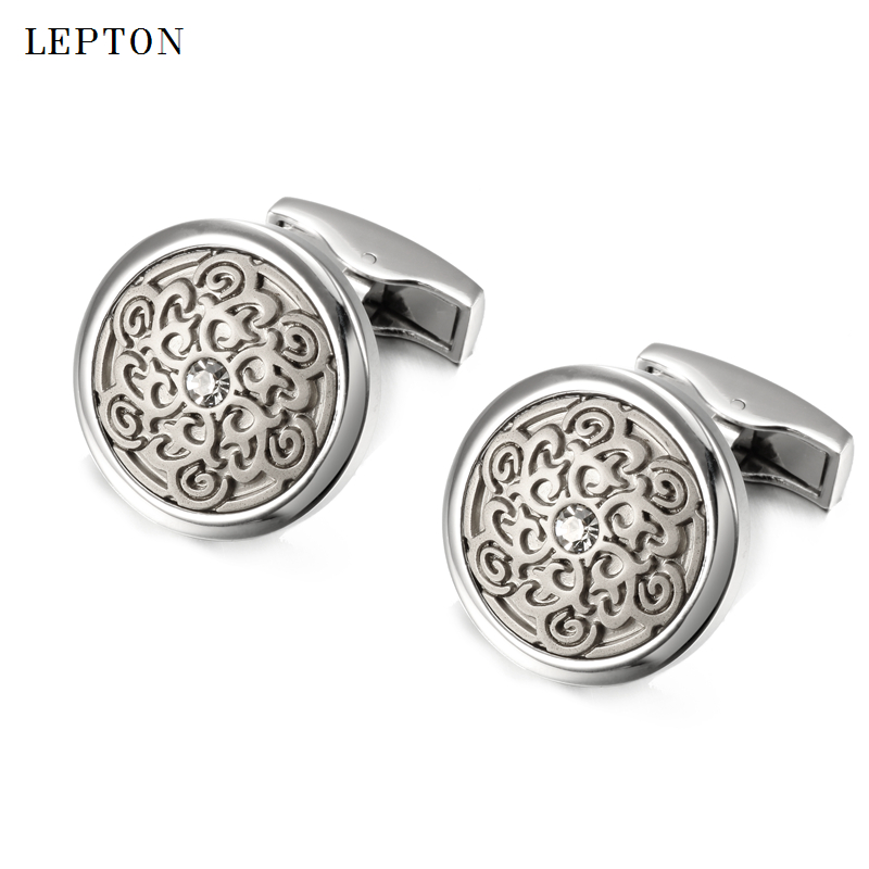 Lepton Mens Business Silver Color Totem Cufflinks Fashion Round Beautiful Totem Cuff links For Men Shirt Cuffs Cufflinks gemelos