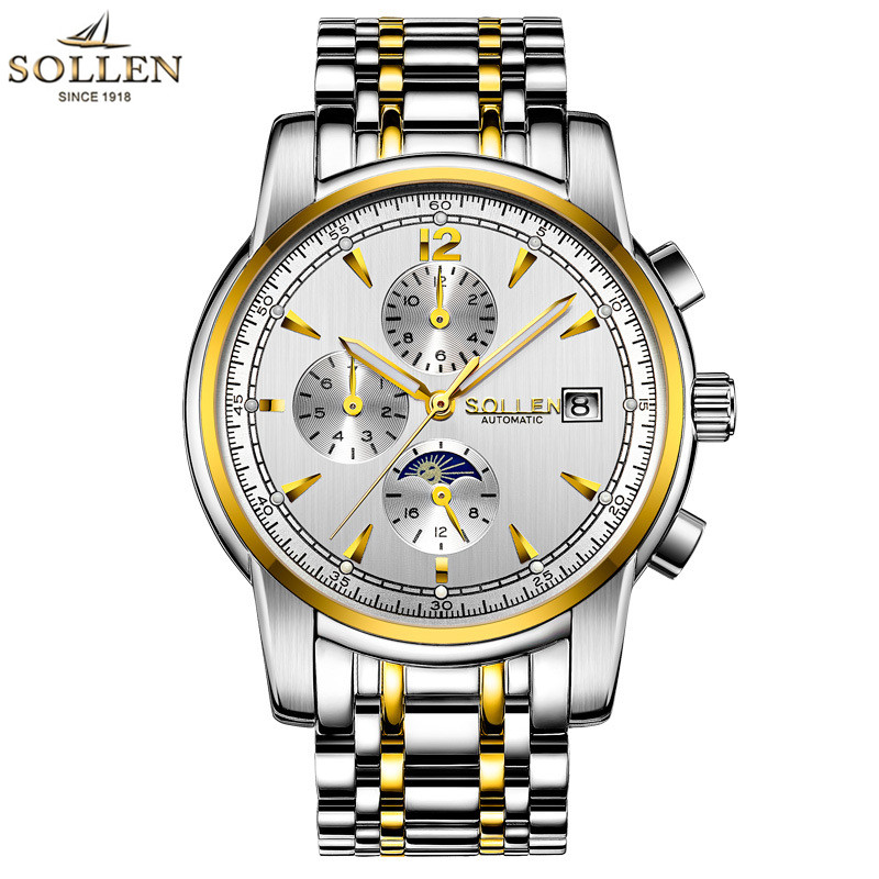 2017 SOLLEN Top Brand New Mechanical watches Men Fashion Waterproof Luminous Watch with Calendar Moon Phase relogio masculino relogios masculino sollen calendar mechanical watch luxury men black waterproof fashion casual military brand sports watches