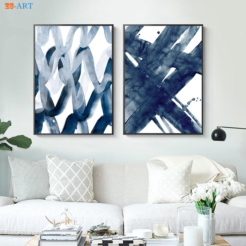 Abstract Painting Navy Blue Watercolour Wall Art Print Brush Stroke Large Poster Modern Minimalist Canvas Home Decor