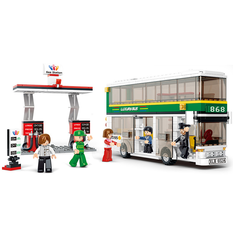 403Pcs SLUBAN 0331 City Bus Double Decker 5Pcs Dolls Figure Blocks Compatible Legoe Construction Building Toys For Children b0331 sluban city bus double decker 5pcs dolls model building blocks enlighten action figure toys for children compatible legoe