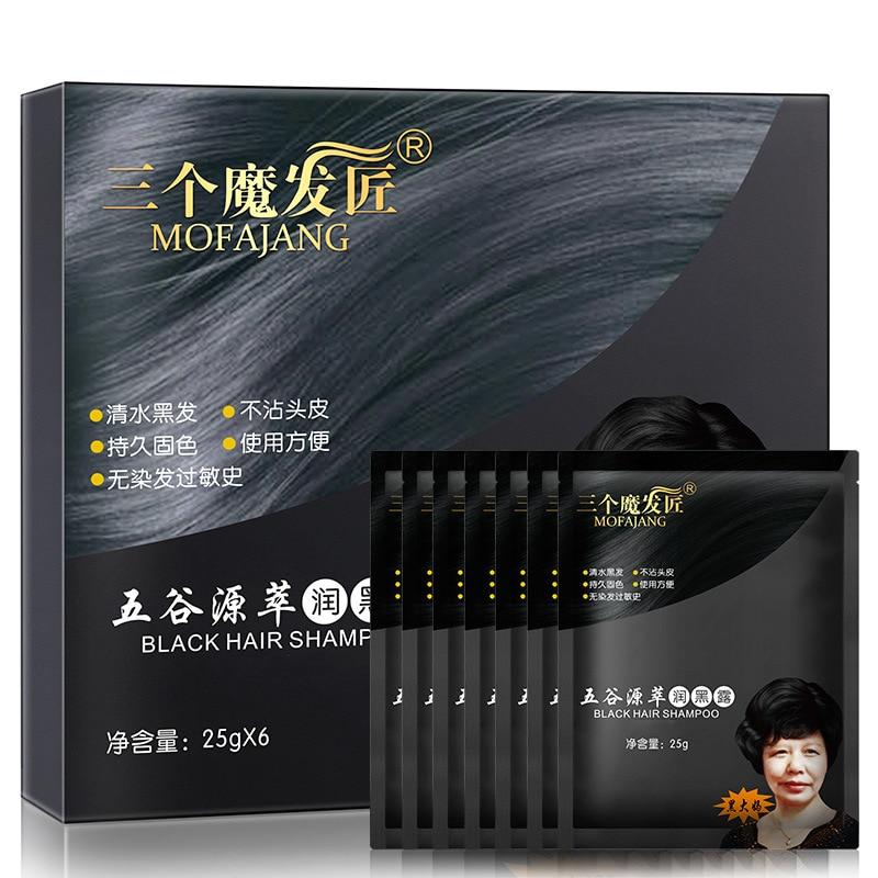 6bags box fast black hair dye shampoo