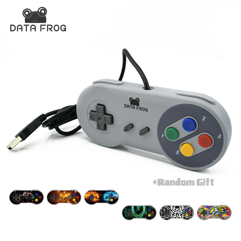 Data Frog 2017 Retro Wired USB Controller Gaming Joypad Joystick  For SNES Style For PC Window 7/8/10 Gamepad For Mac ps4 usb wired gaming controller with analog sticks