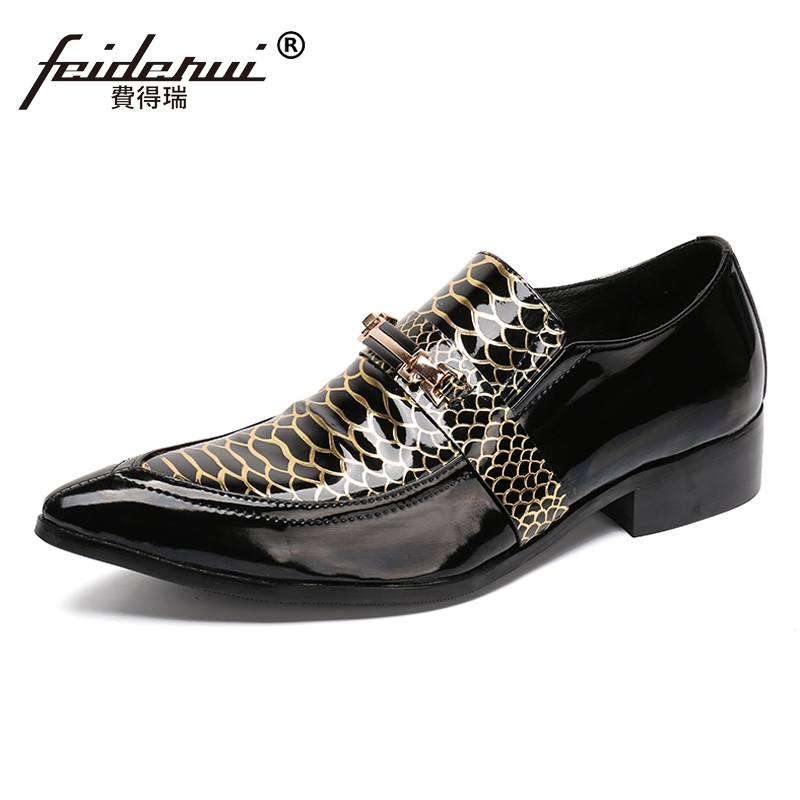 Plus Size New Italian Designer Alligator Man Wedding Party Loafers Patent Leather Pointed Toe Men's Runway Rocker Shoes SL118 plus size fashion pointed toe derby man runway footwear italian designer patent leather wedding party men s runway shoes sl435