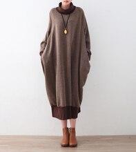 18 Большие размеры зимой толстые вязаные женское платье с рукавами «летучая мышь» Свободные Большой Размеры водолазка теплая Пуловеры для женщин Платья для женщин женской одежды новый