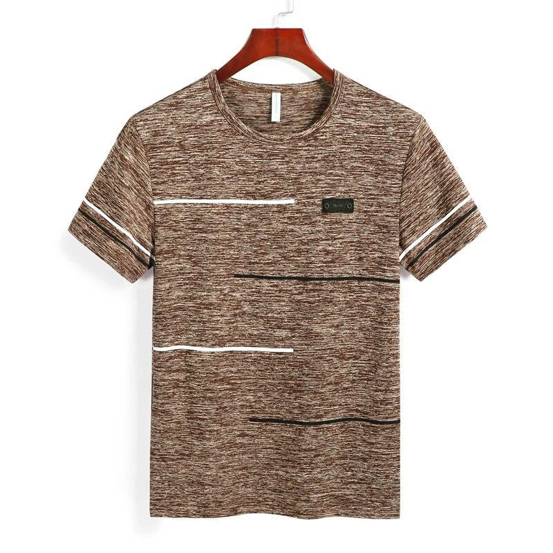 Летние мужские футболки, 4 шт., 9XL, одежда из полиэстера, большие размеры 6XL, 7XL, 8XL, Мужские дышащие футболки с коротким рукавом, в полоску, с кру...