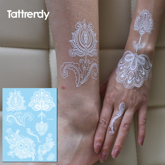 c68919271a3b Big Tattoo Sticker Beauty Henna Female White Lace Wedding Temporary Flash  Tattoos Fake Paste hand Body
