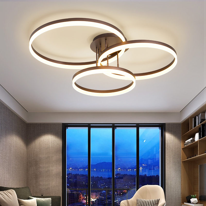 large ring modern office lighting ceiling lamp for sitting living room light led ceiling light dimmable with remote control