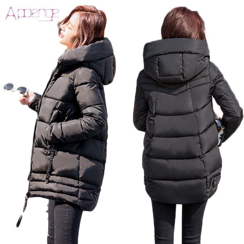APOENGE Women s Winter Jackets 2017 New Padded Cotton Coats Medium Long Hooded Overcoats Female Thicker