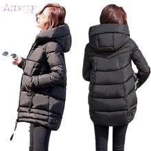 APOENGE Women's Winter Jackets 2017 New Padded-Cotton Coats Medium-Long Hooded Overcoats Female Thicker Parka Dames Jassen LZ513