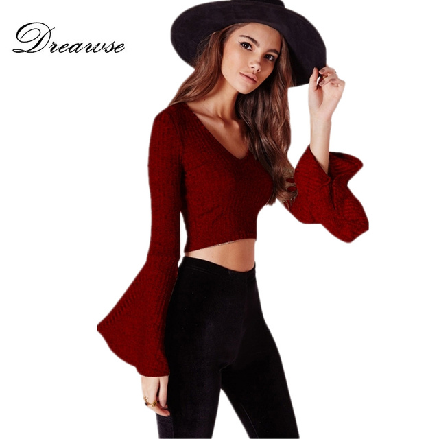 c750e7031821 Dreawse Khaki Red Wine Black V Neck Punk Style Loose Flared Sleeve Slim Was  Thin Exposed Umbilical Short T-shirt Crop Top DF709