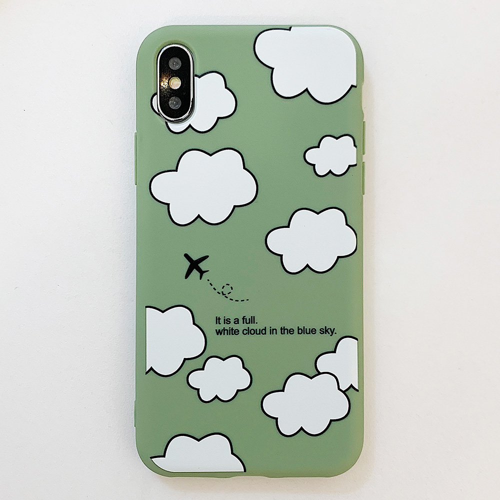 KIPX1114E_1_JONSNOW Matte Phone Case for iPhone XS Max X XR Cases White Clouds Pattern Soft Silicone Cover for iPhone 6 6S 6P 7 8 Plus
