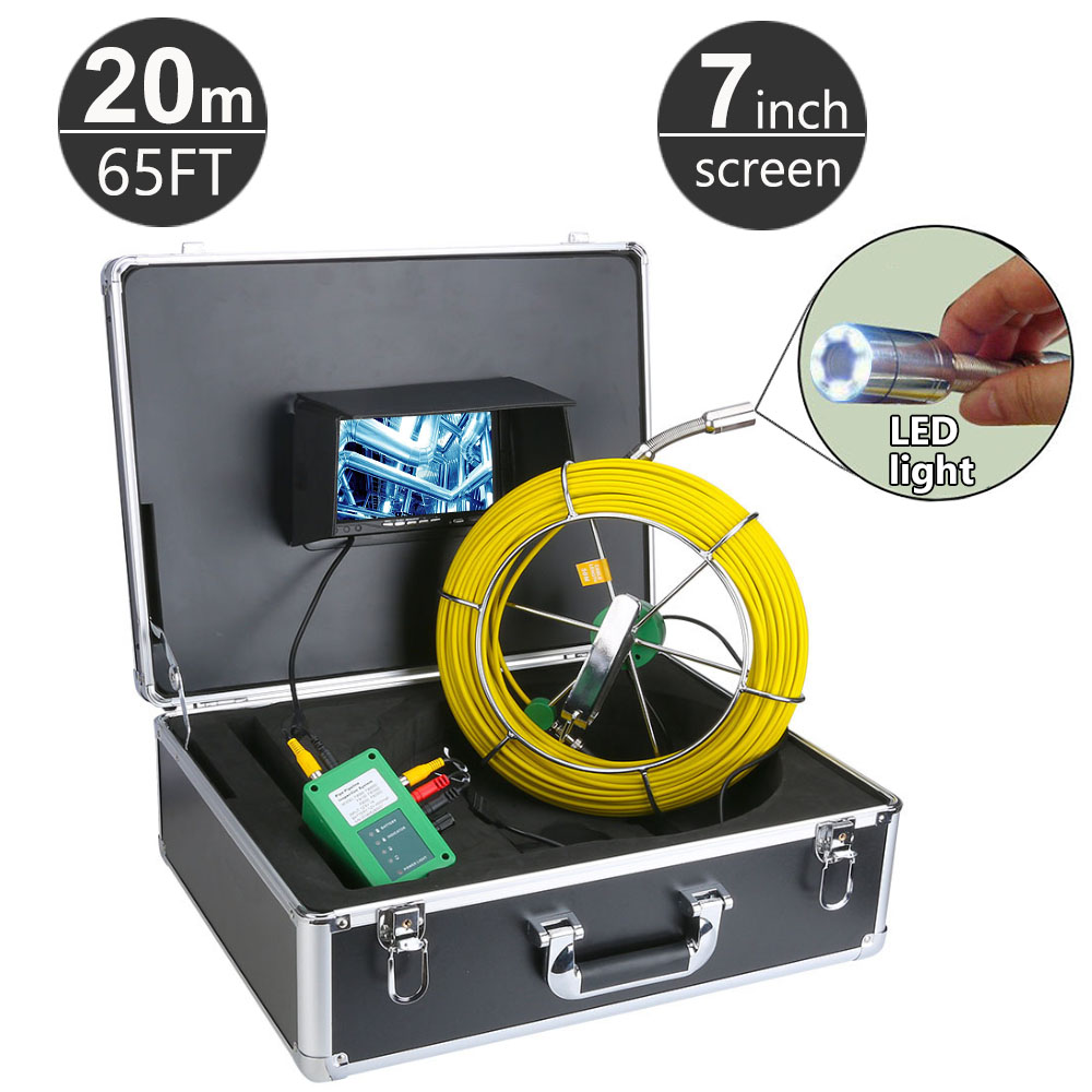 20M 65ft Sewer Pipe Pipeline Drain Inspection System 7 inch LCD Monitor 1000TVL Snake Drain Waterproof