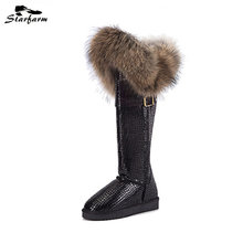 STARFARM Winter Snow Boots Australia Fox Fur Boot Real Leather Shoes Woman Knee High Warm Shoes Wedge Russian Boots plus size
