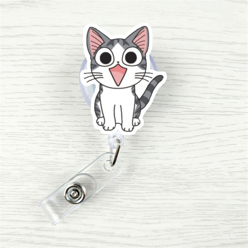 Cartoon Cat Nurse Retractable Pull Badge Holder Lanyards ID Name Card Badge Holder Clip Student Nurse Badge Holder Office
