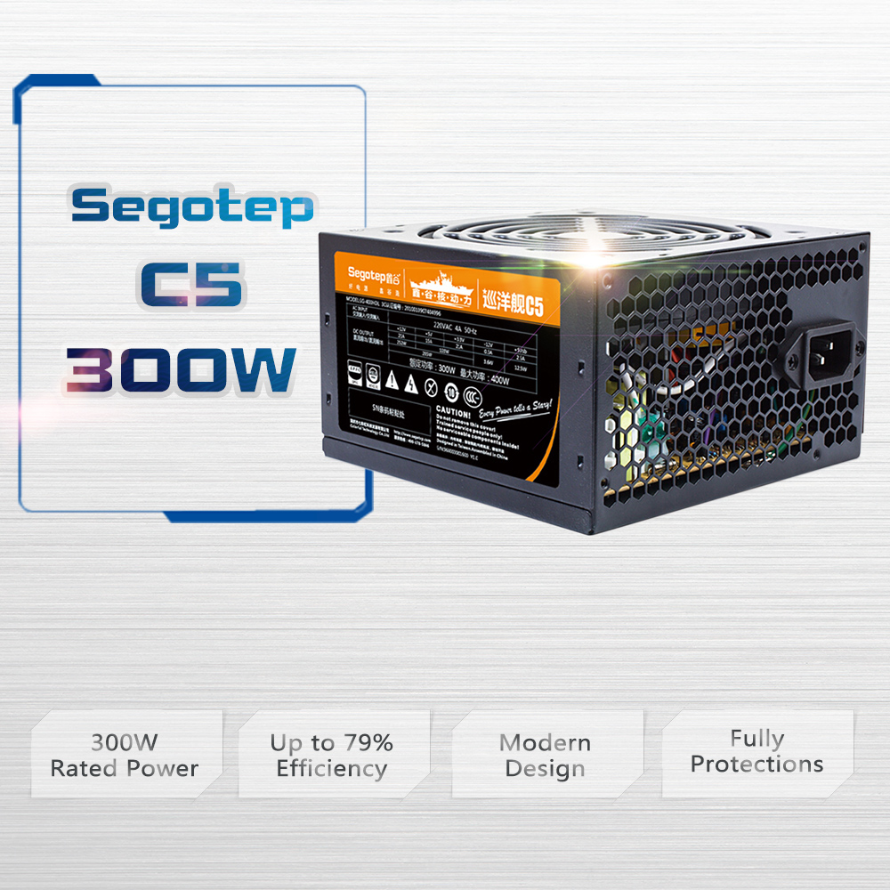 Segotep C5 300W ATX PC Computer Power Supply Desktop Gaming PSU 120mm Fan power supply for computer 400W Peak Power atx 300gu 400 watt 400w replace power supply replacement