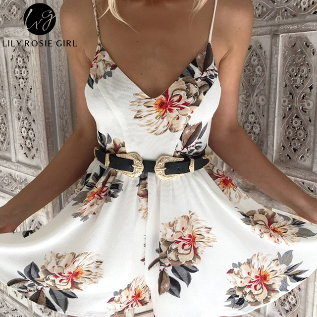 Lily Rosie Girl Women 2017 Hollow Out Print Deep V Neck Boho Summer Rompers White Floral Off Shoulder Sexy Playsuit Overalls