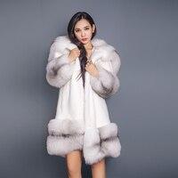 90cm Long Russian Sable Fur/Cross Fox Fur Hoodies XL Large Full Length Mink Coat Real Fur Parka Plus Sliver Fox Fur Cuffs