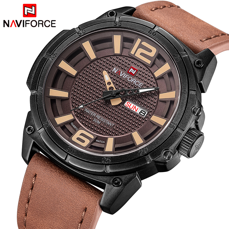 NAVIFORCE Luxury Men Quartz Military Watch Man Fashion Casual Waterproof Sport Watches Male Leather Date Clock Relogio Masculino weide new men quartz casual watch army military sports watch waterproof back light men watches alarm clock multiple time zone