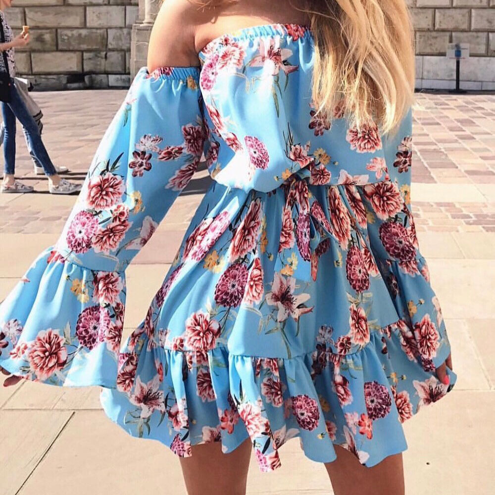 Sexy Women's Jumpsuit Summer Off Shoulder Floral Playsuits Female Beach Long Ruffles Jumper Jumpsuit Womens Causal Playsuits