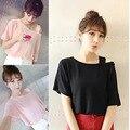 Mujeres camiseta solid loose grande pullover camisetas de verano femenino del color del caramelo ocasional hombro ladies tops mujeres clothing m-2xl