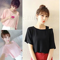 Women T Shirt Solid Loose Large Pullover Casual Candy Color Female T-Shirts Summer Off Shoulder Ladies Tops Women Clothing M-2XL