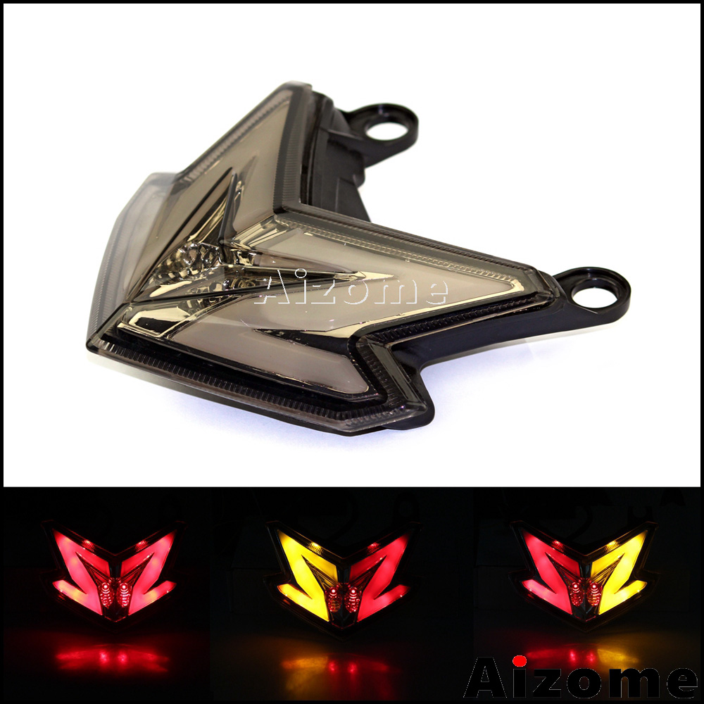 Smoke Motorcycle LED Tail Light Taillight Red Stop Light Rear Lamp W/ Turn Signals For Kawasaki Z800 Ninja ZX6R 636 2013 2014