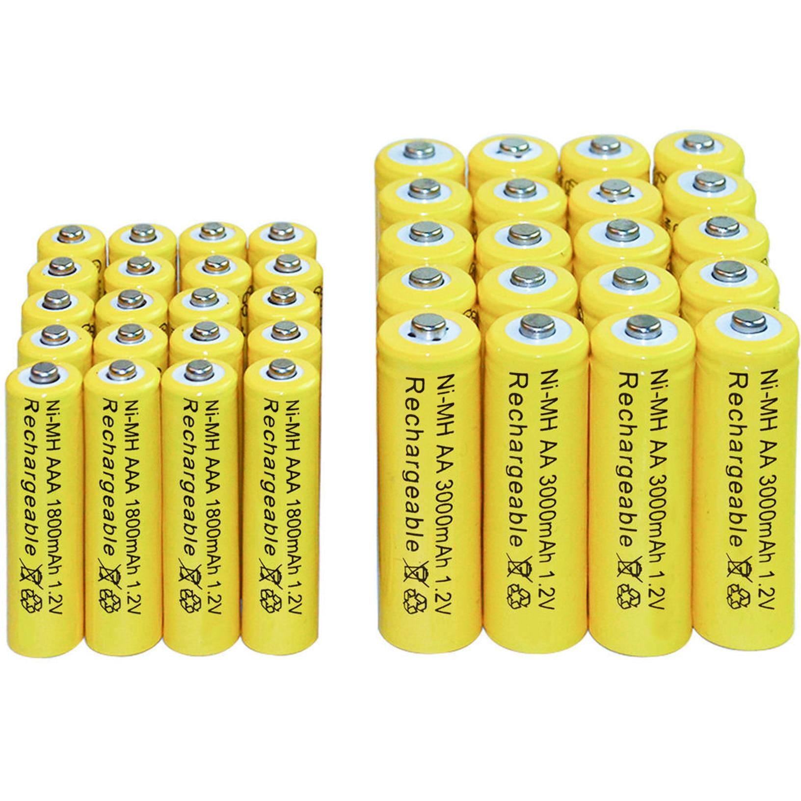 4/10/16/20/24/Вт, 30 Вт, 40 шт. AA 3000 мАч+ AAA 1800 мАч 1,2 никель-металл-гидридный аккумулятор с напряжением Перезаряжаемые Батарея желтый сотовые светодиодный фонарь игрушки RC