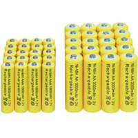 4/10/16/20/24/30/40 Uds AA 3000mAh + AAA 1800mAh 1,2 v Ni-MH batería recargable amarillo celular envío gratis led juguetes de linterna RC
