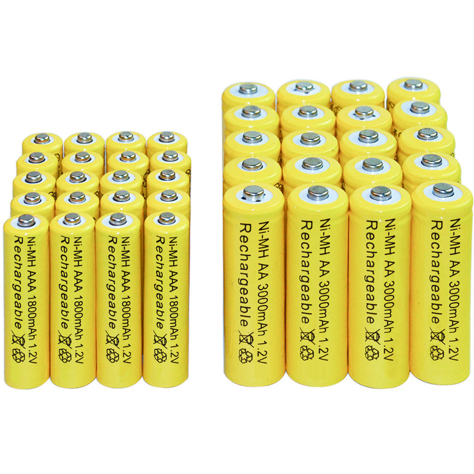 4/10/16/20/24/30/40 piezas AA 3000 mAh + AAA 1800 mah 1,2 V baterías recargables de Ni-MH amarillo celular envío gratis led juguetes de RC