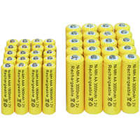 4/10/16/20/24/30/40 stücke AA 3000mAh + AAA 1800mAh 1,2 v Ni-Mh Akku gelb cell Kostenloser versand led-taschenlampe Spielzeug RC