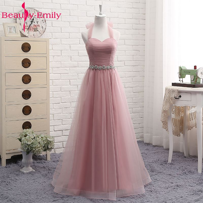 Pink V-neck Tulle Floor Length Bridesmaid Dress