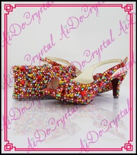 Aidocrystal New coming african sandals Italian shoes and bags to match red color crystal high heel size35-43
