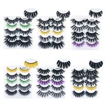 5 Pairs/7 Style Colored Mix Mink Eyelashes Thick Fashion False Eyelashes 3D lashes Fluffy Reusable Crisscross Beauty Makeup Tool