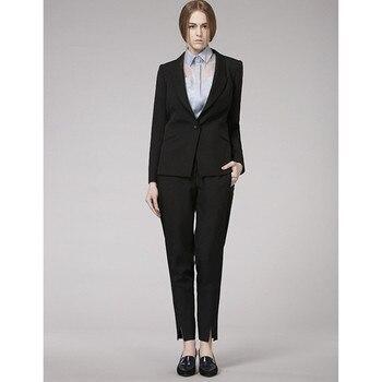 Custom Made Women Black Business Formal Office Suits Work Wear Elegant OL Style Uniform Jacket+Pants