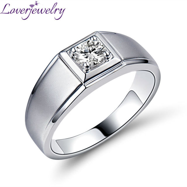 Top Quality Natural 4.35mm Round  Solitaire 0.3ct Diamond Rings For Wedding In Solid 18K White Gold for Men's  WU0116